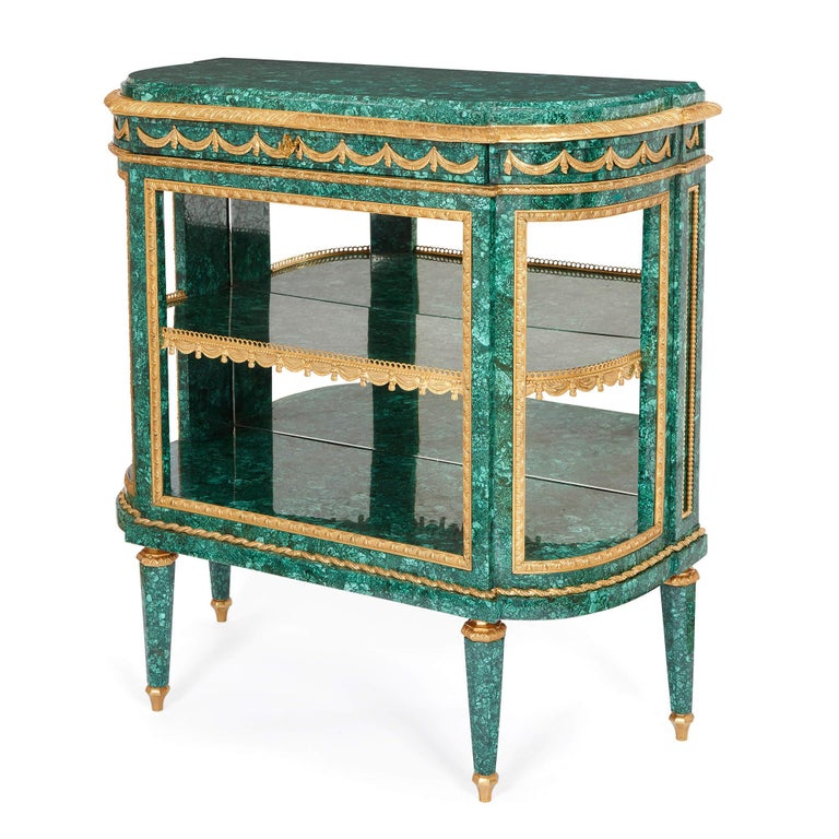 Louis XVI Pair of Neoclassical Style Malachite and Gilt Bronze Commodes For Sale