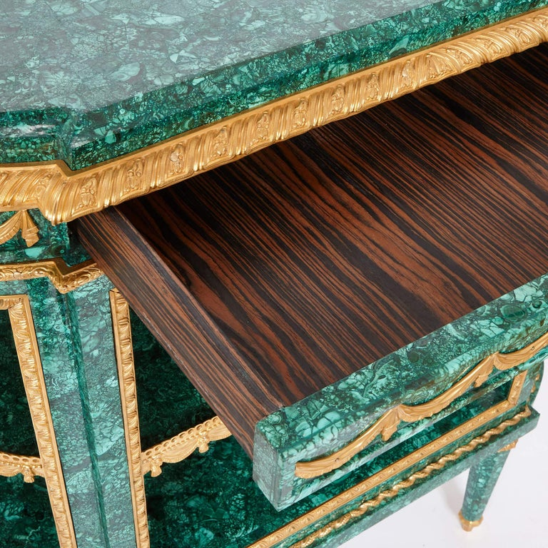 Pair of Neoclassical Style Malachite and Gilt Bronze Commodes In Good Condition For Sale In London, GB
