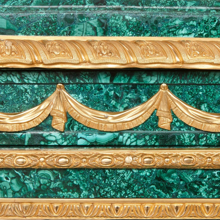 20th Century Pair of Neoclassical Style Malachite and Gilt Bronze Commodes For Sale