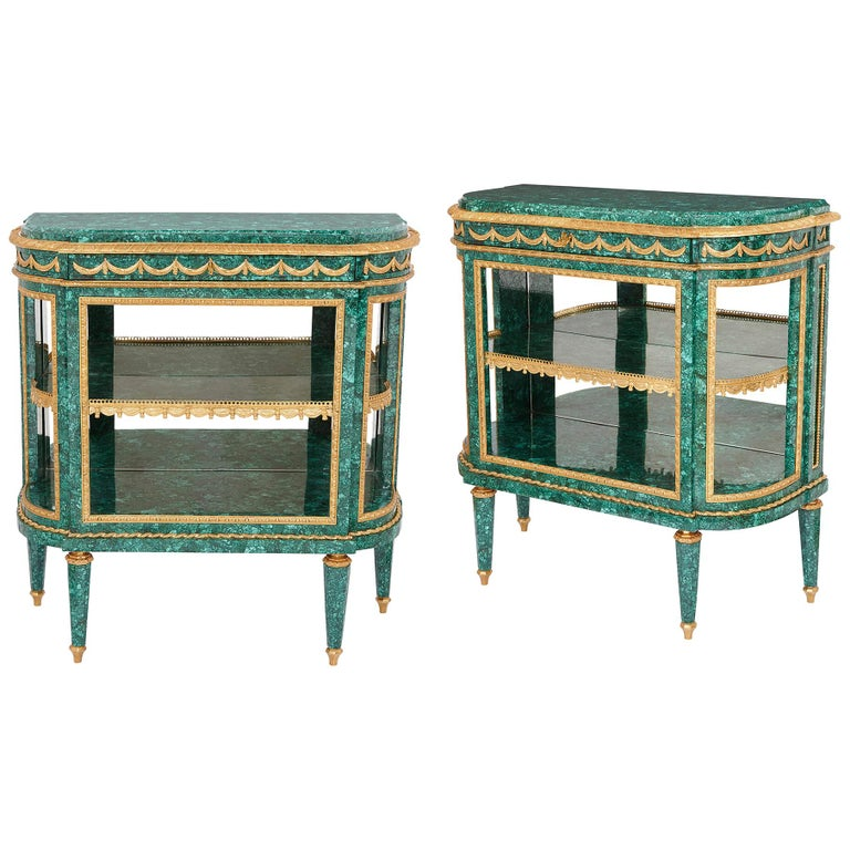 Pair of Neoclassical Style Malachite and Gilt Bronze Commodes For Sale