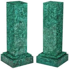 Pair of Neoclassical Style Malachite Veneered Pedestals