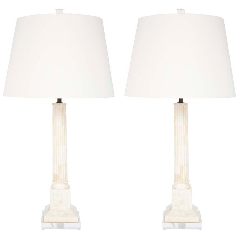 Pair of Neoclassical Style Mid Century Table Lamps on Lucite Bases For Sale