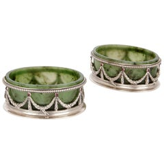 Pair of Neoclassical Style Nephrite and Silver Salt and Pepper Pots