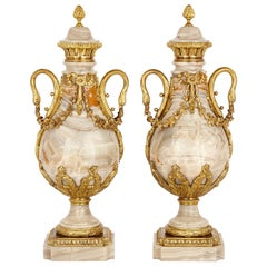 Pair of Neoclassical Style Onyx and Gilt Bronze Vases