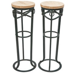 Pair of Neoclassical Style Painted Iron Stands with Travertine Tops, circa 1950