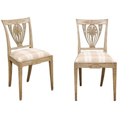 Pair of Neoclassical Style Painted Swedish Side Chairs, circa 1890