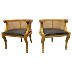 Pair of Neoclassical Style Rams Head Birchwood Bergere Chairs