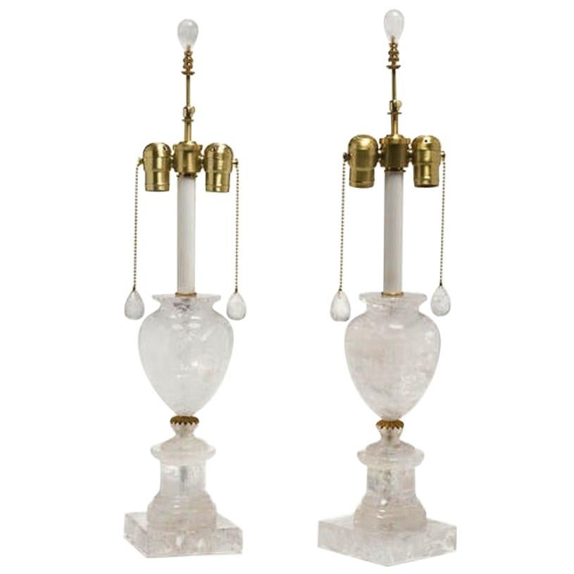 Pair of Neoclassical Style Rock Crystal Urn-Form Lamps