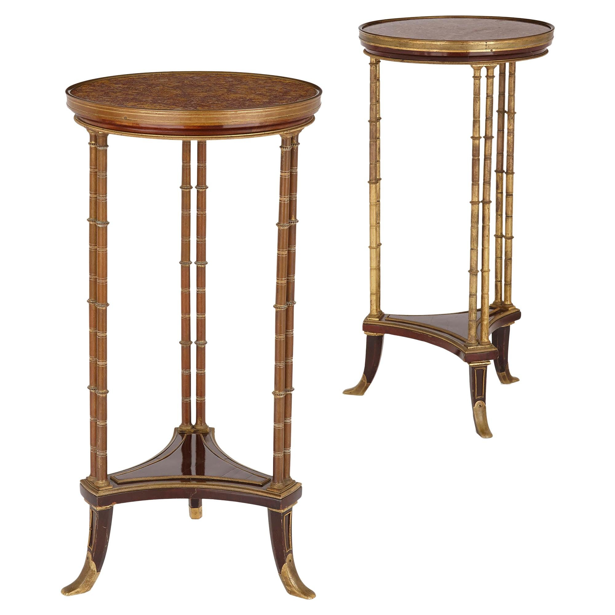 Pair of Neoclassical Style Round Side Tables, Manner of Adam Weisweiler