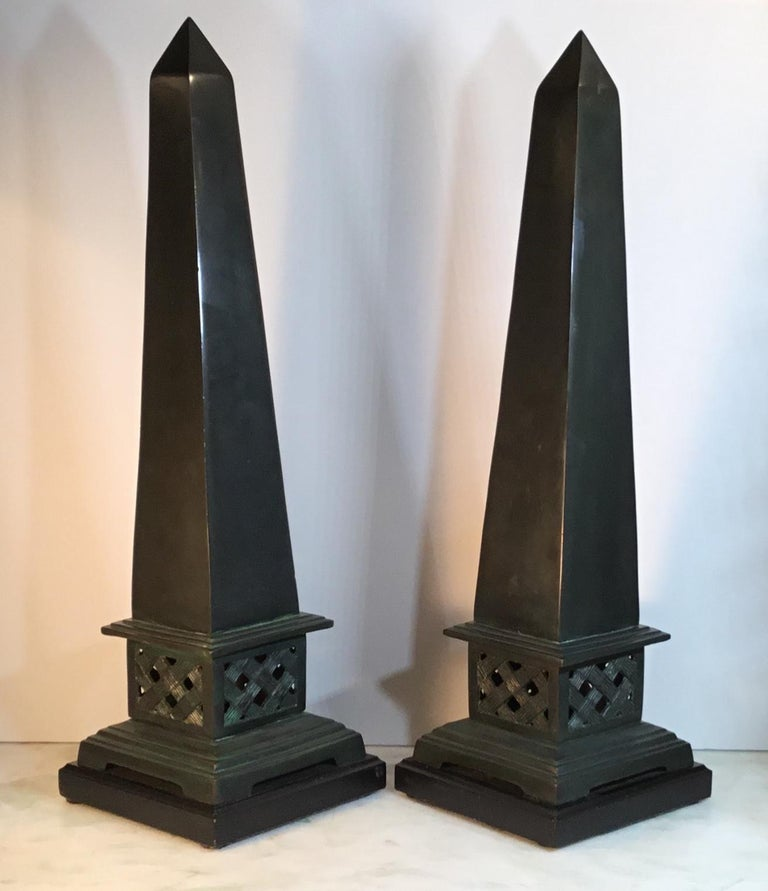 Pair of Neoclassical Style Solid Bronze Obelisk For Sale 5