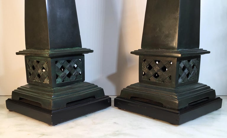 Pair of Neoclassical Style Solid Bronze Obelisk For Sale 6