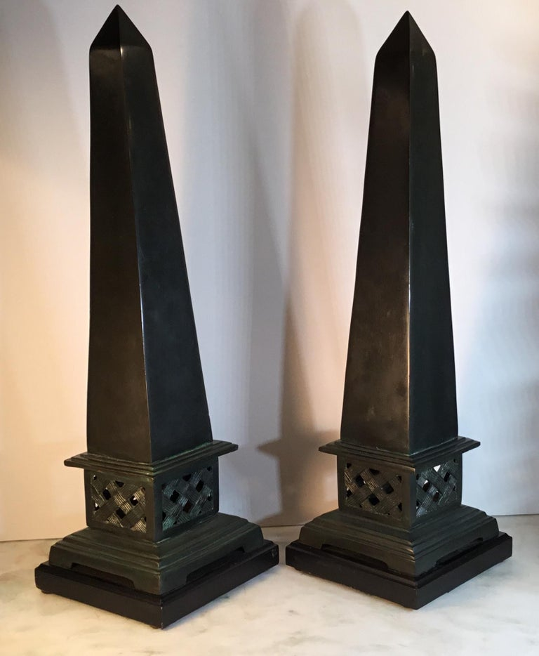 Pair of Neoclassical Style Solid Bronze Obelisk For Sale 7