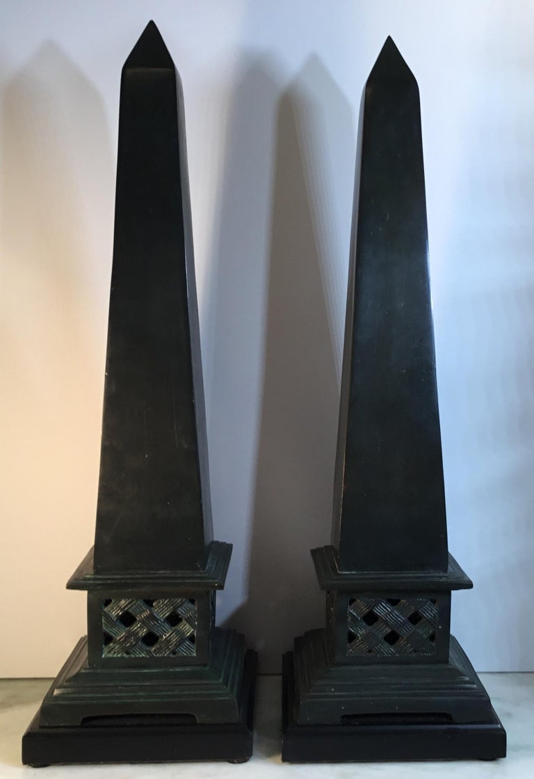 Pair of Neoclassical Style Solid Bronze Obelisk In Good Condition For Sale In Delray Beach, FL