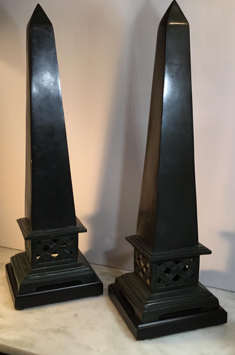 20th Century Pair of Neoclassical Style Solid Bronze Obelisk For Sale