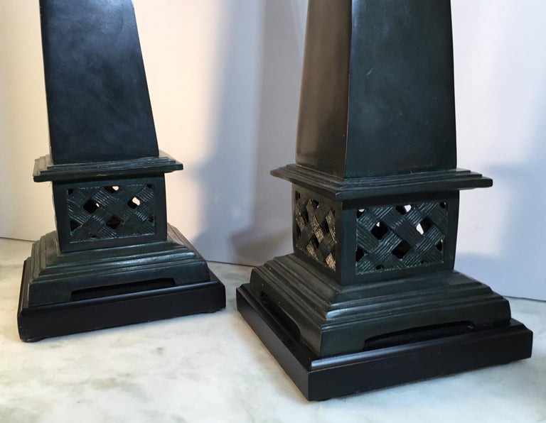 Brass Pair of Neoclassical Style Solid Bronze Obelisk For Sale