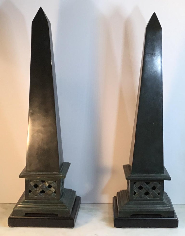 Pair of Neoclassical Style Solid Bronze Obelisk For Sale 1