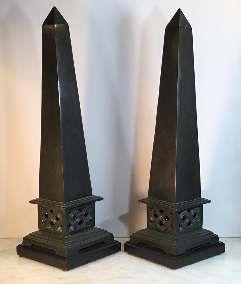 Pair of Neoclassical Style Solid Bronze Obelisk For Sale 3
