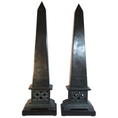 Pair of Neoclassical Style Solid Bronze Obelisk