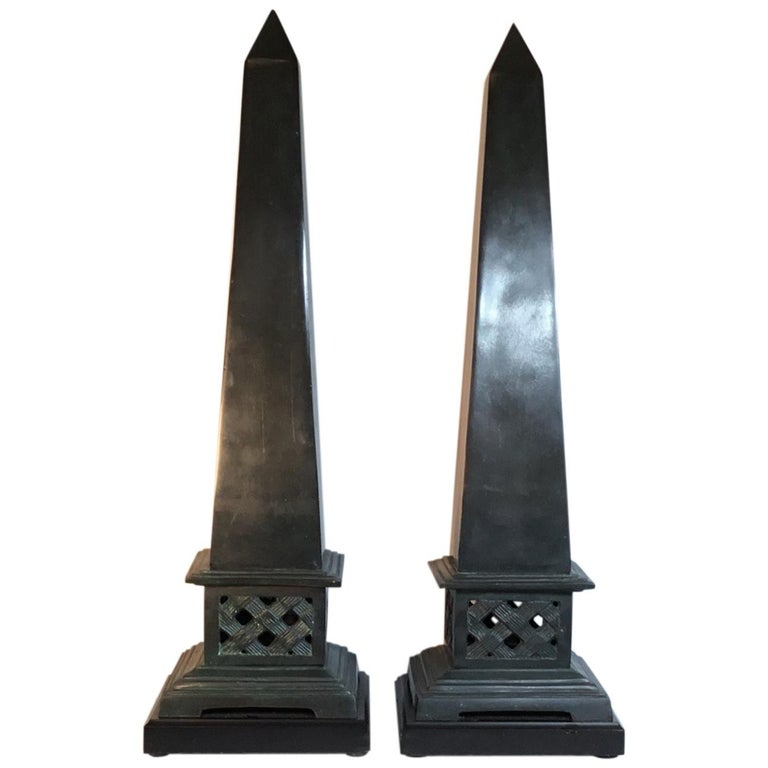 Pair of Neoclassical Style Solid Bronze Obelisk For Sale