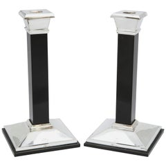 Pair of Neoclassical-Style Sterling Silver and Onyx Candlesticks, Tiffany & Co.
