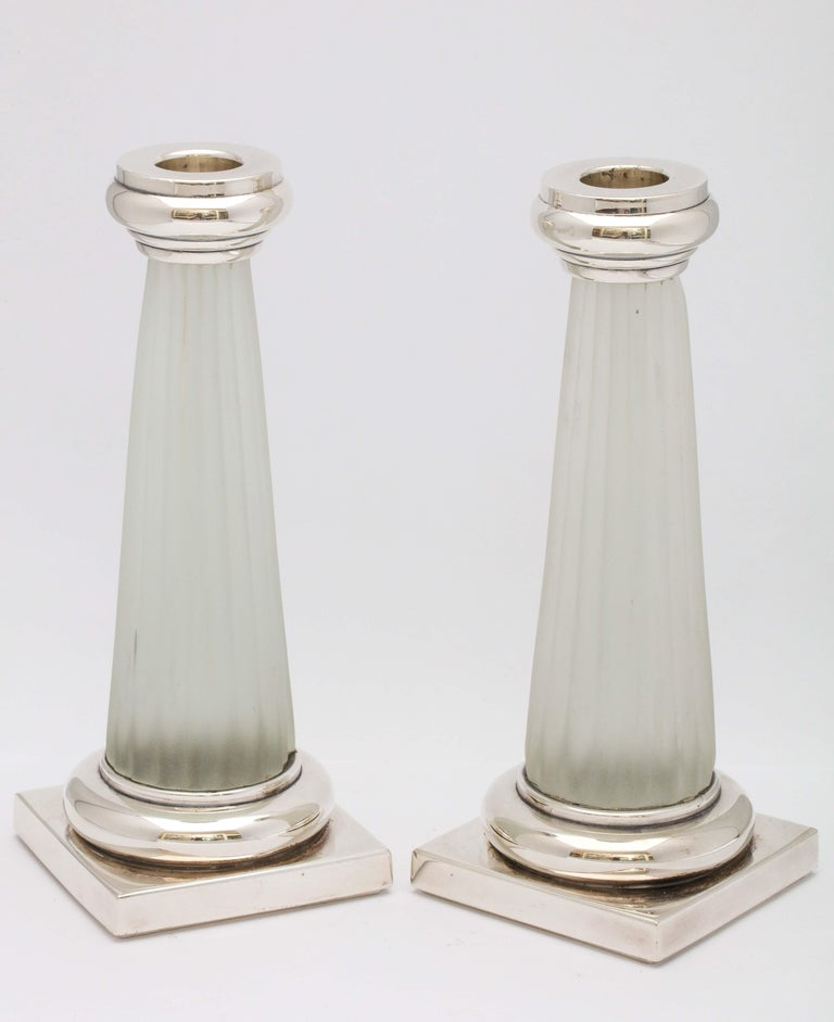 Italian Pair of Neoclassical Style Sterling Silver, Mounted Frosted Glass Candlesticks For Sale