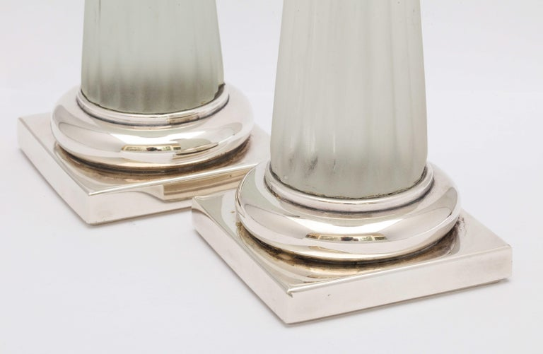 Mid-20th Century Pair of Neoclassical Style Sterling Silver, Mounted Frosted Glass Candlesticks For Sale