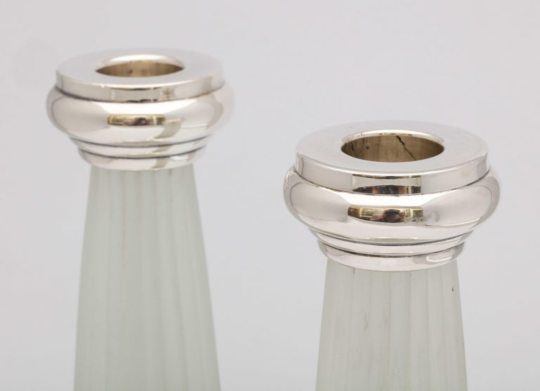 Pair of Neoclassical Style Sterling Silver, Mounted Frosted Glass Candlesticks For Sale 1