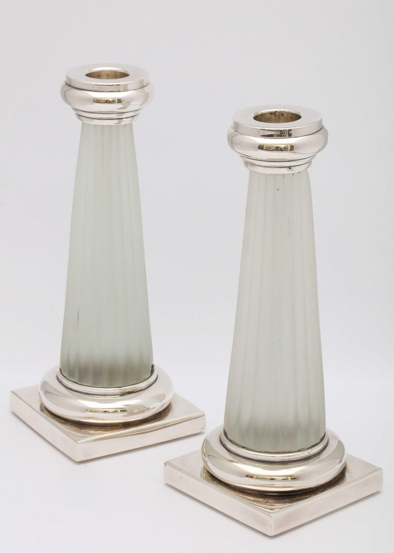 Pair of Neoclassical Style Sterling Silver, Mounted Frosted Glass Candlesticks For Sale 3