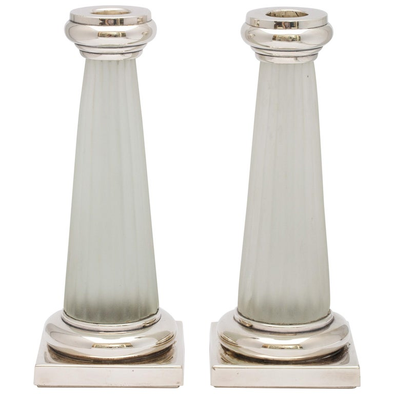 Pair of Neoclassical Style Sterling Silver, Mounted Frosted Glass Candlesticks For Sale