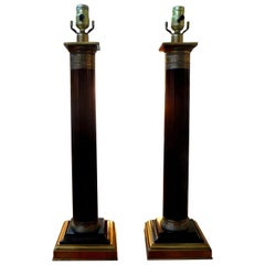 Pair of Neoclassical Style Tole Column Lamps