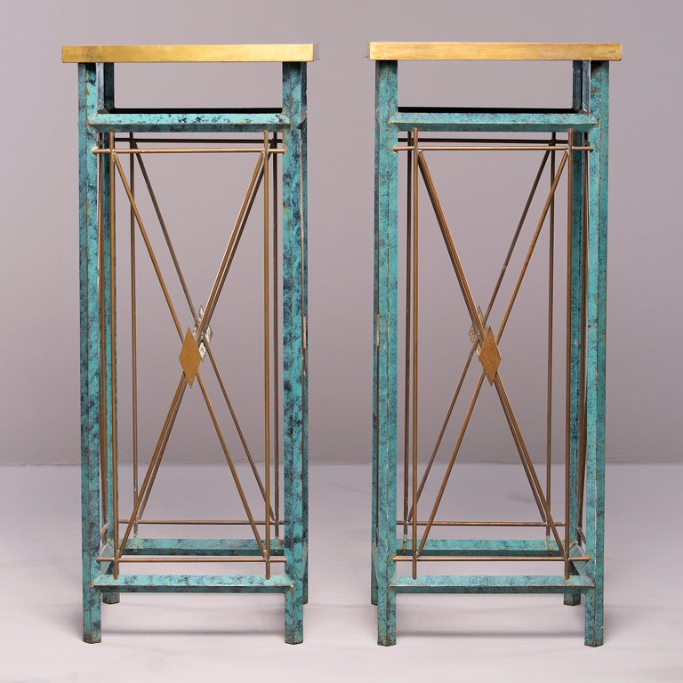 Pair of Neoclassical Style Verde Green Metal Statue Stands For Sale 6