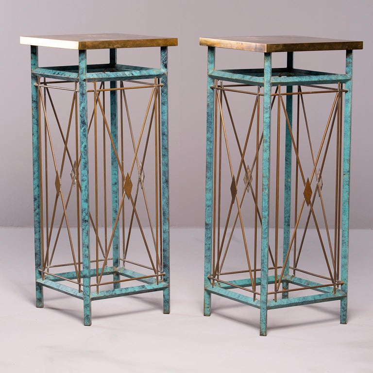 Pair of Neoclassical Style Verde Green Metal Statue Stands For Sale 9