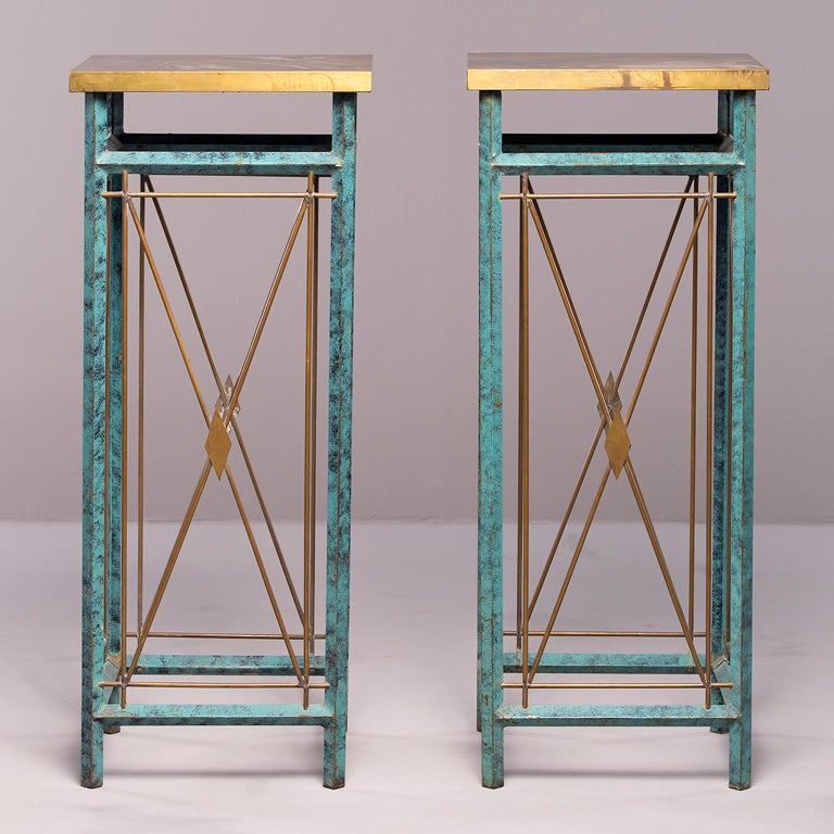 Pair of Neoclassical Style Verde Green Metal Statue Stands For Sale 10