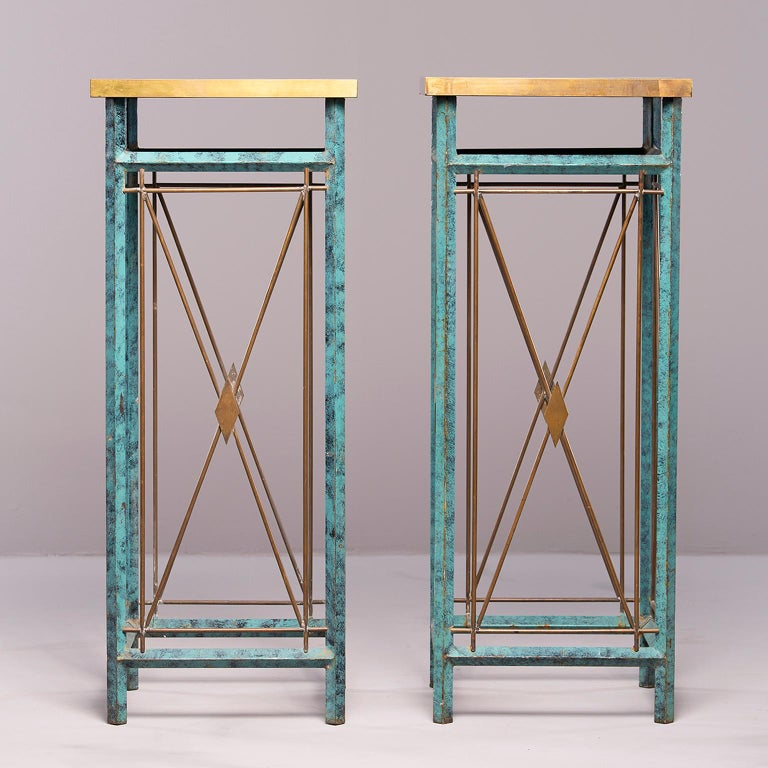 20th Century Pair of Neoclassical Style Verde Green Metal Statue Stands For Sale