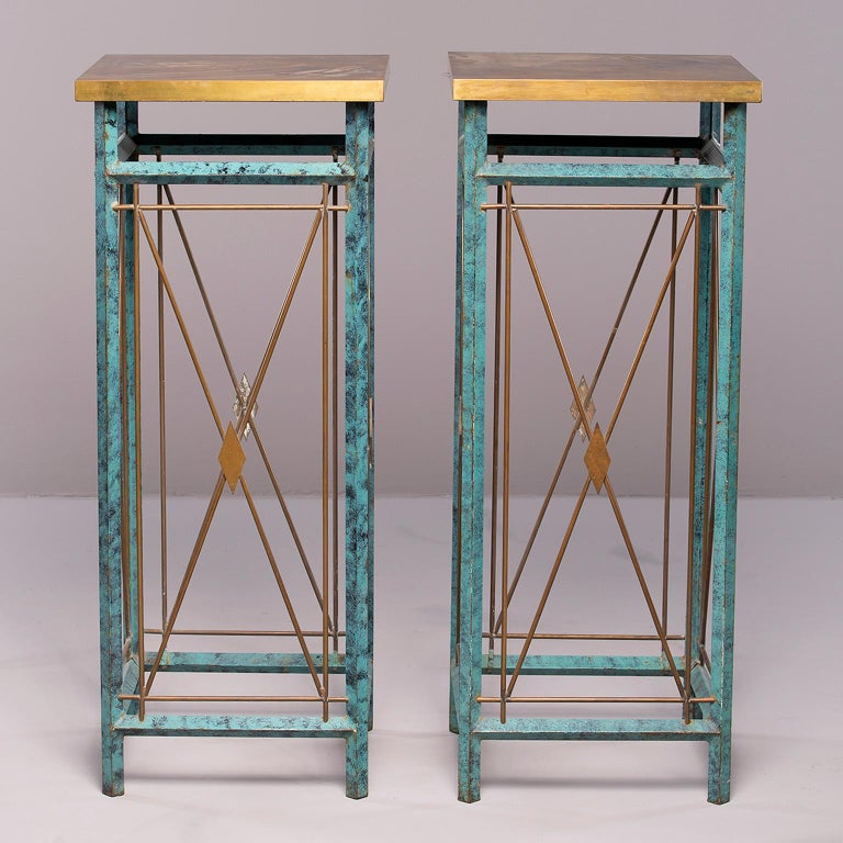 Pair of Neoclassical Style Verde Green Metal Statue Stands For Sale 2