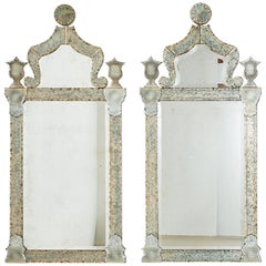Pair of Neoclassical Style Verre Églomisé Beveled Mirrors