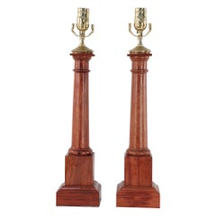 Pair of Neoclassical Style Wooden Column Table Lamps