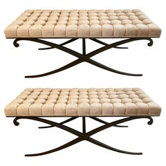 Pair of Neoclassical Style X-Base Form Benches, USA, 1970