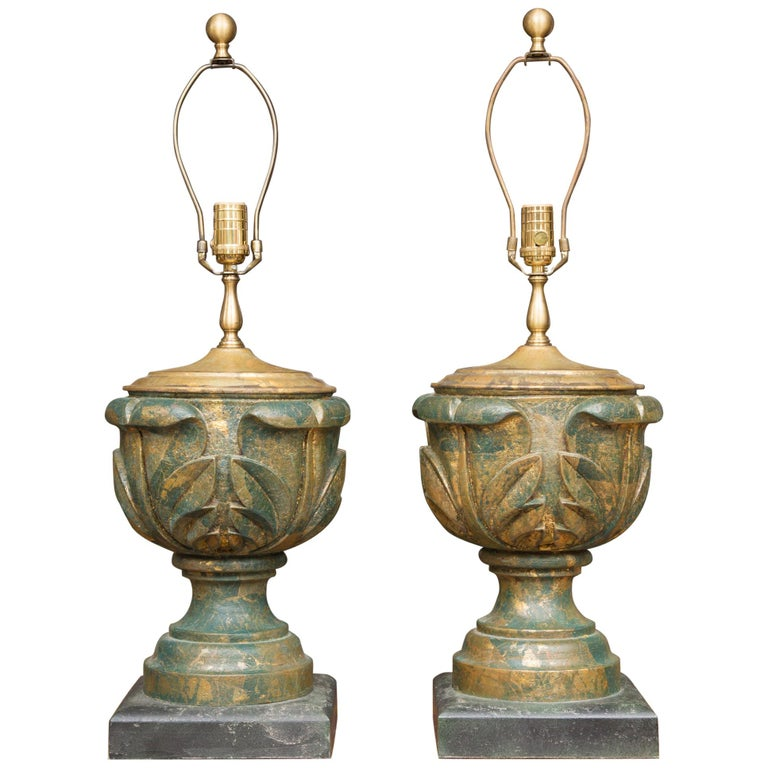 Pair of Neoclassical Table Lamps For Sale