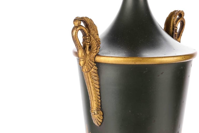 Pair of Neoclassical Tole Urn Form Lamps In Good Condition For Sale In Bridgeport, CT
