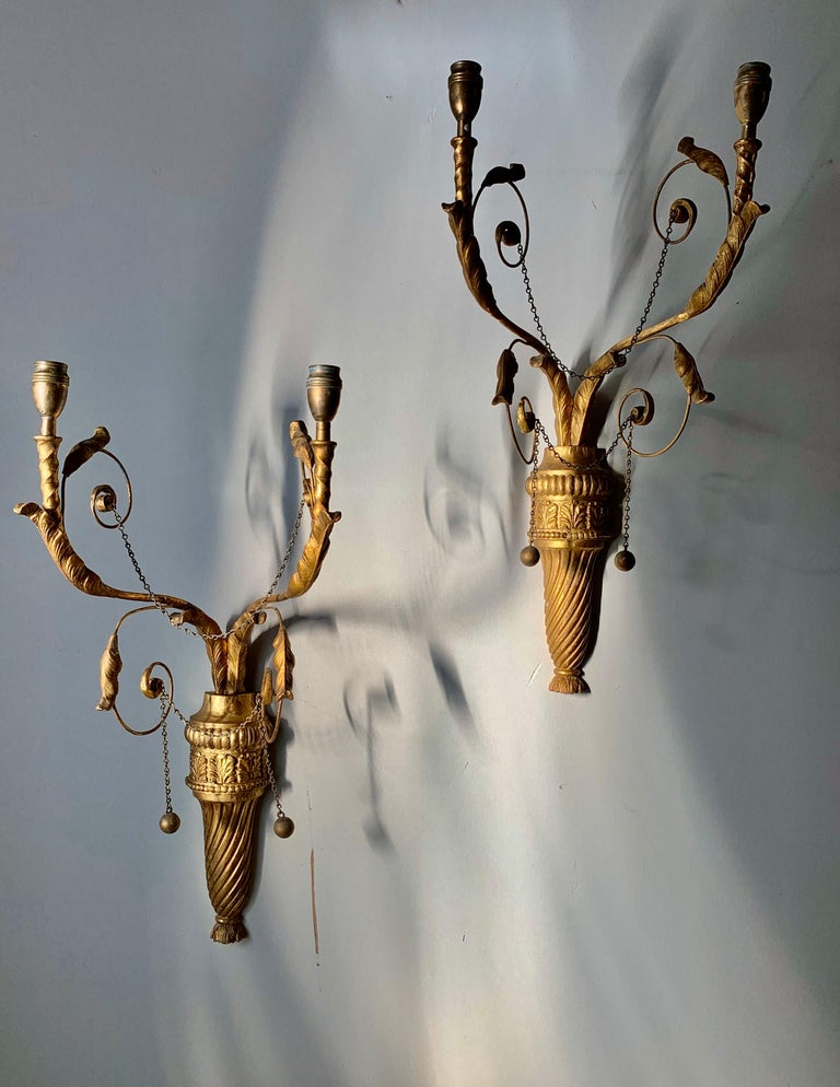 Pair of delicate 19th century English, Adams style neoclassical wall sconces Two foliate adorned arms rise from the hand carved reeded giltwood urns.