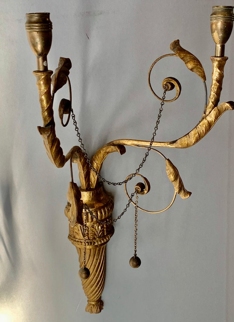 Hand-Crafted Pair of Neoclassical Wall Sconces For Sale