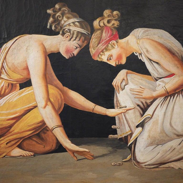 Pair of Neoclassical Women Paintings, Italian Art, 19th Century For Sale 5