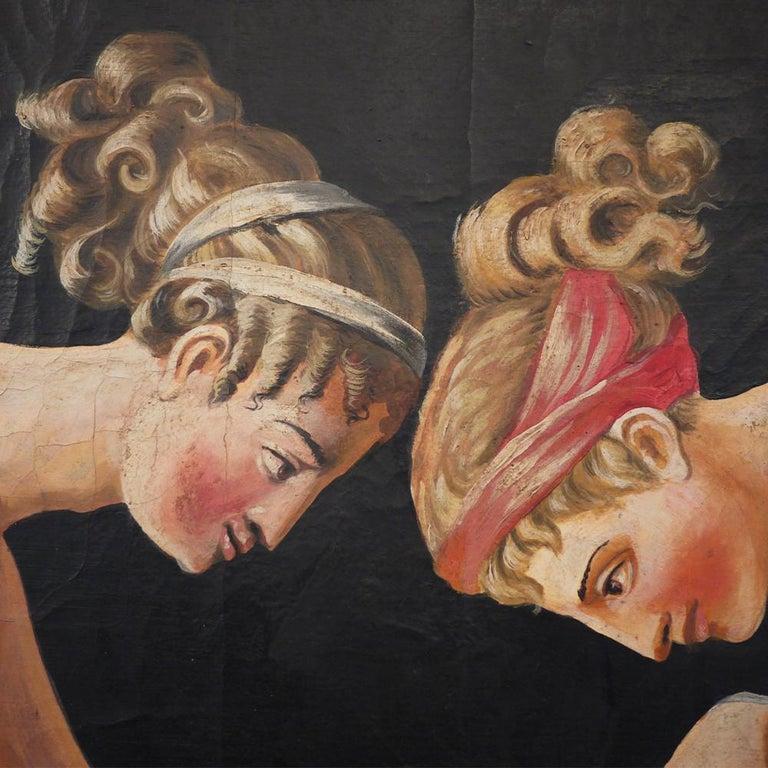 Pair of Neoclassical Women Paintings, Italian Art, 19th Century For Sale 6