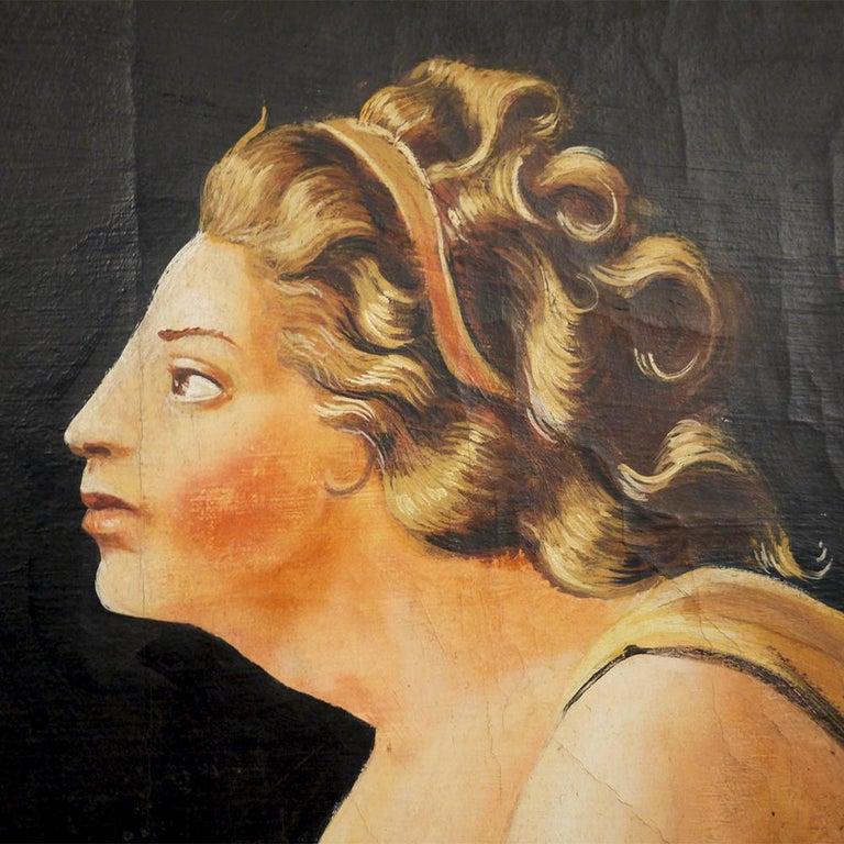 Pair of Neoclassical Women Paintings, Italian Art, 19th Century For Sale 10