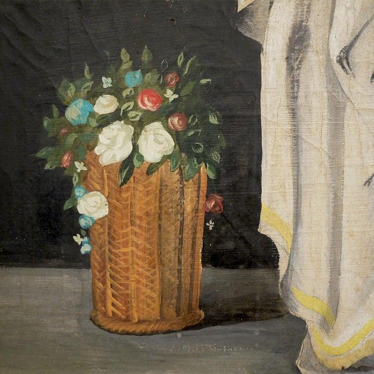 Pair of Neoclassical Women Paintings, Italian Art, 19th Century For Sale 13