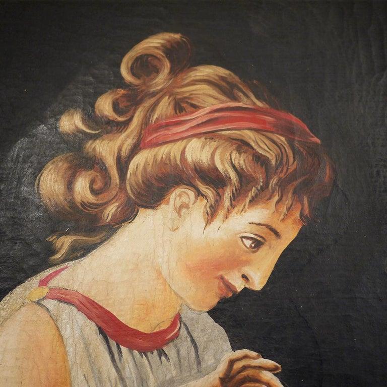 Pair of Neoclassical Women Paintings, Italian Art, 19th Century For Sale 15