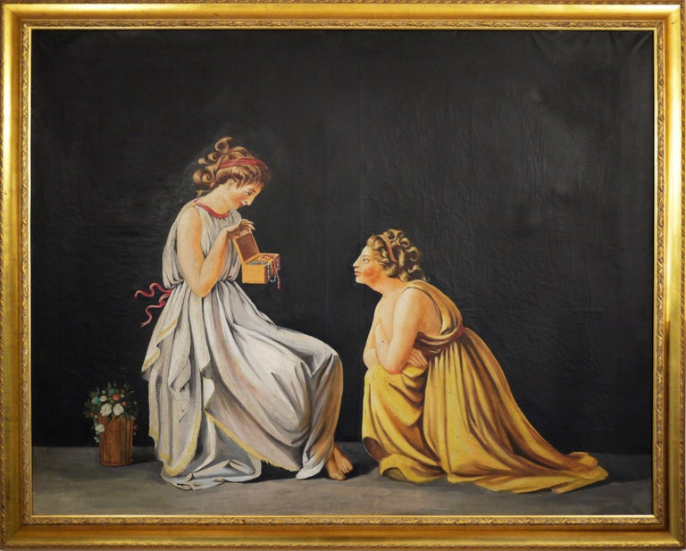 Neoclassical Revival Pair of Neoclassical Women Paintings, Italian Art, 19th Century For Sale