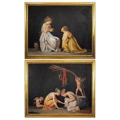 Pair of Neoclassical Women Paintings, Italian Art, 19th Century