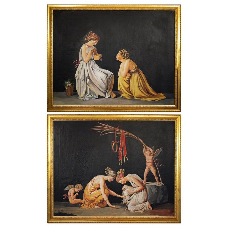 Pair of Neoclassical Women Paintings, Italian Art, 19th Century For Sale